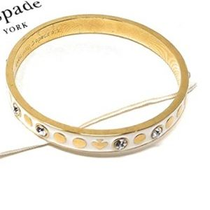 Kate Spade 'Spot the Spade' Gold Enamel Bangle